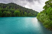 image of bavarian alps  - Turquoise water of Lech river in Bavarian Alps - JPG