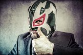 all it is ok, aggressive executive suit and tie, Mexican wrestler mask