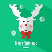 stock photo of rudolf  - Merry Christmas background with deer Rudolf and place for text - JPG
