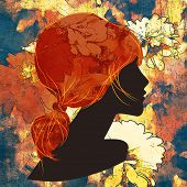 art dark silhouette profile of beautiful girl with red floral ponytail hair on colorful floral background