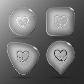 Careful heart. Glass buttons. Raster illustration.