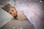 pic of blanket snow  - Composite image of young girl resting on sofa with stuffed toy against snow - JPG