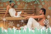 Happy couple relaxing in a sauna and chatting against snowflakes and fir trees in green