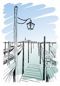 Venice. Quay Piazza San Marco. Gondolas on the water & the view of the island of San Giorgio Maggiore. Vector drawing. Eps10