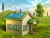Renewable energy sources for a sustainable living. Digital illustration.