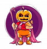 Child in halloween of jack-o-lanterns costume with pumpkin on the head. Eps10 vector illustration isolated on ehite background