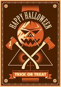 Illustrated halloween poster design. Vector illustration.