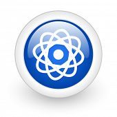 atom blue glossy icon on white background