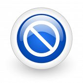 access denied blue glossy icon on white background