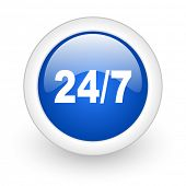 24/7 blue glossy icon on white background