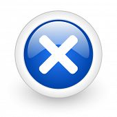 cancel blue glossy icon on white background