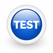 test blue glossy icon on white background