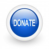 donate blue glossy icon on white background