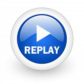 replay blue glossy icon on white background
