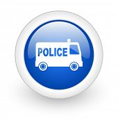 police blue glossy icon on white background
