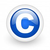copyright blue glossy icon on white background