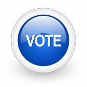 vote blue glossy icon on white background