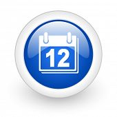 calendar blue glossy icon on white background