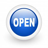open blue glossy icon on white background