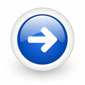 right arrow blue glossy icon on white background