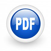 pdf blue glossy icon on white background