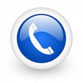 phone blue glossy icon on white background