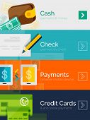Set of flat design concepts - payment online. Cash, check, mobile online and credit card