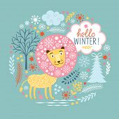 Christmas greeting card, fairy lion with snow mane
