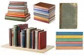 Bookshelf and book stacks on white background