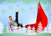 Break dancer skillfully balancing on one hand against snowflakes and fir tree in green