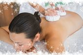 Content brunette getting a herbal compress massage against fir tree forest and snowflakes