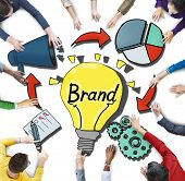Aerial View of Business People and Branding Concepts
