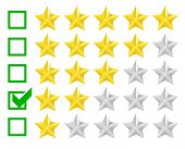detailed illustration of a star rating system with checkbox at two stars, eps10 vector