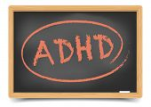 detailed illustration of a blackboard with ADHD text, eps10 vector, gradient mesh included