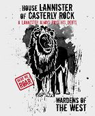 September 17, 2014: Vector illustration of the lion, sigil of the House Lannister of Casterly Rock, one of the noble houses in TV show Game of Thrones