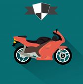 sports racing motorcycle icon - flat design vector