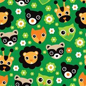 Seamless woodland animals fox owl raccoon illustration and jungle lion and giraffe background pattern in vector
