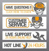 Customer support designs with skull