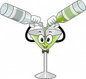 Mascot Illustration Featuring a Wineglass Mixing Drinks