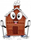 Mascot Illustration Featuring a Ski Lodge