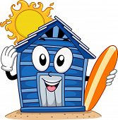Mascot Illustration Featuring a Beach Cabin