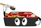 Mascot Illustration Featuring a Bento Box Picking a Maki