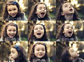 Multiple collage with portraits of a same little girl on outdoor