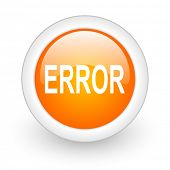 error orange glossy web icon on white background