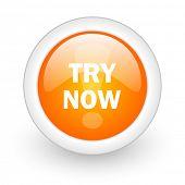 try now orange glossy web icon on white background
