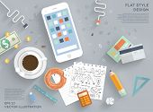 Flat Style Modern Design Concept of Creative Office Workspace. Icons Collection of Business Work Flow Items and Elements, Office Things, Objects and Equipment for Workplace Design. Vector Illustration