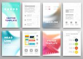Set of Vector Brochure Flyer Design Layout Templates. Abstract Blurred Background. Wavy Forms for Flyer, Placard, Banner and Poster Design.