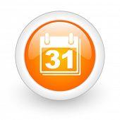 calendar orange glossy web icon on white background