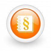 law orange glossy web icon on white background