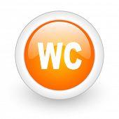 toilet orange glossy web icon on white background